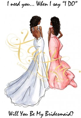 Will you be my bridesmiad card African American